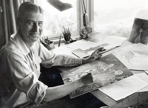 Theodor Geisel at work in his studio. Photo courtesy of Dr. Seuss Enterprises, LP