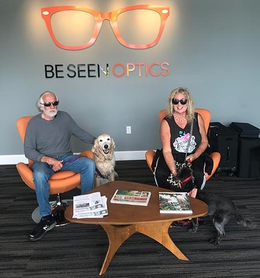 Dog welcomed at Be Seen Optics in Birdrock