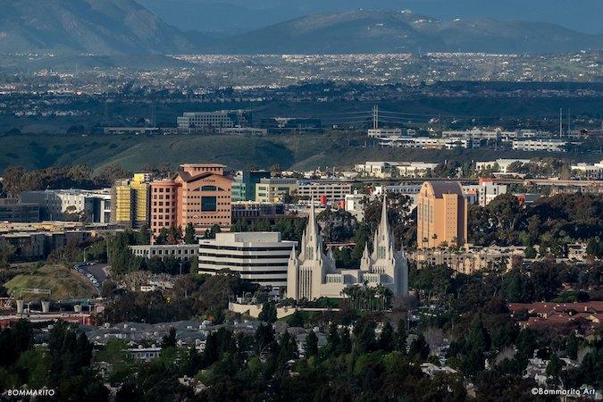 The La Jolla Mormon temple by day