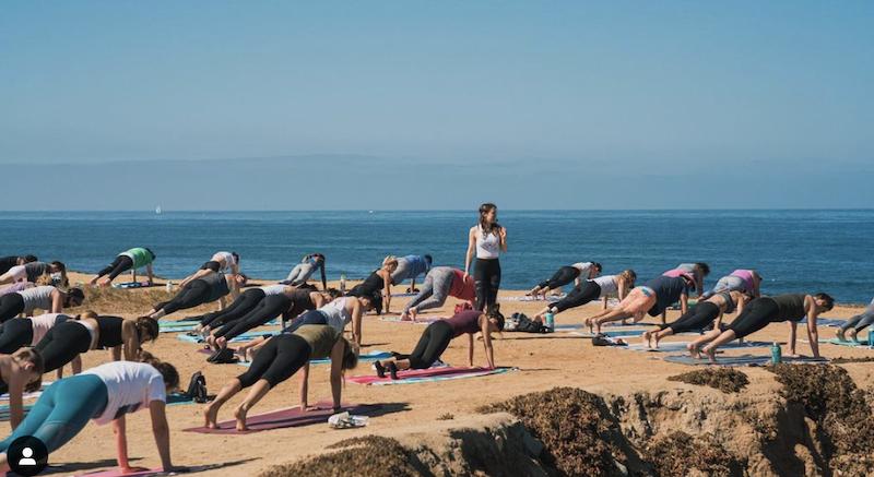 Yoga class at Sunset Cliffs