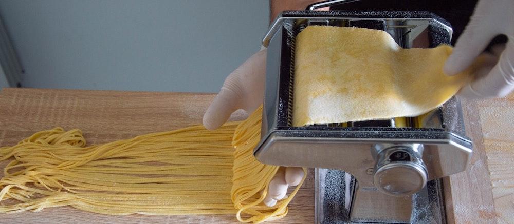 Handmade Italian pasta in a La Jolla restaurant kitchen