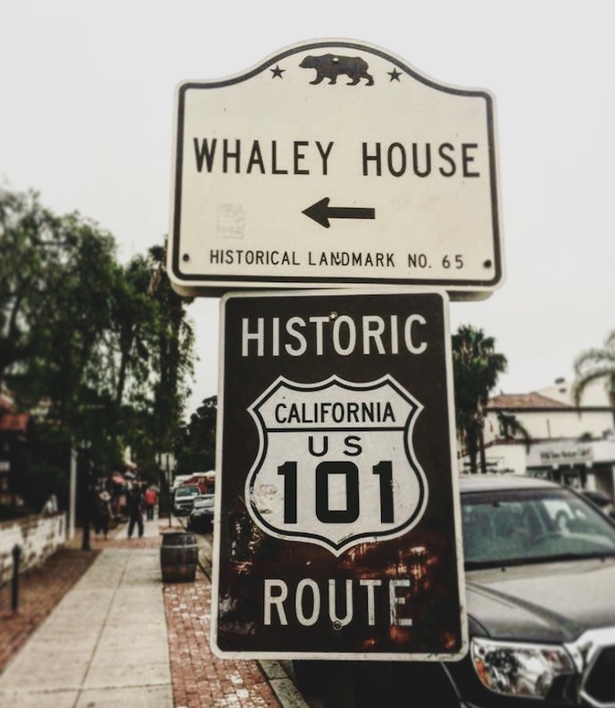 Sign for the haunted Whaley House in San Diego